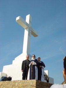 The 14-ton, 12 meter-high cement cross atop Cross Mountain in Medjugorje