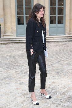 Emmanuelle Alt ... leather pants + Chanel