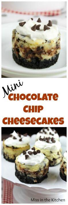 Mini Chocolate Chip Cheesecakes Recipe ~ Delicious dessert for any occasion! Mini Chocolate Chip Cheesecake Recipe, Mini Cheesecake Recipes, Mini Chocolate Chips, Best Dessert Recipes, Sweet Recipes, Raspberry Cheesecake, Oreo Cheesecake, Köstliche Desserts, Chocolate Desserts