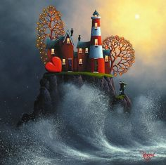 'Stormy Seas' ~ by David Renshaw Art Local Art Galleries, Romantic Paintings, Lighthouse Art, Summer Painting, Illustrations And Posters, Art Pages, Art And Architecture, Light Art, Art Pictures