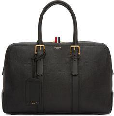 Thom Browne: Black Leather Duffle Bag | SSENSE