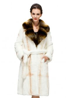 Crusader/faux white cross pattern fox fur with brown bunny fur collar/long fur coat