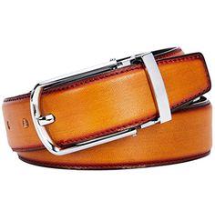 YoMeiJun Men's Belt Handmade Vegetable Tanned Leather Belt Adjustable