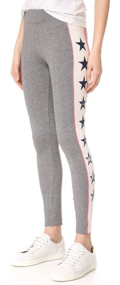 stars racer stripe leggings by SUNDRY. Soft SUNDRY leggings composed of lightweight french terry. Faded stars accent the colorblocked side seams. Relaxed el...