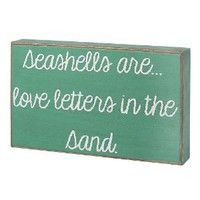 """Amazon.com: """"Seashells Are... Love Letters in the Sand"""" Turqouise / White Decorative Sign: Home & Kitchen"""