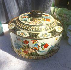 Vintage Floral Bird tin biscuit / cookie barrel. England. Storage jar. Retro Gold red Boho canister, jewelry box holder, trinket, candy pink by WonderCabinetArts on Etsy https://www.etsy.com/listing/222633378/vintage-floral-bird-tin-biscuit-cookie