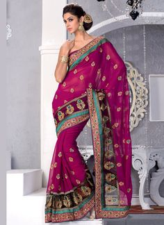 Fuchsia colored Sari