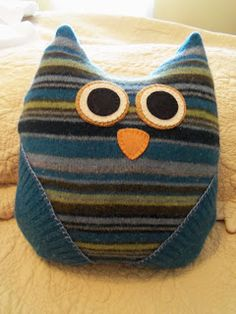 Owl Pillow made from a wool sweater.