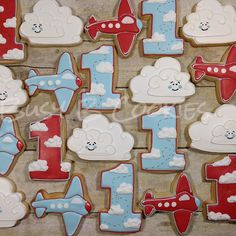 Aviation themed cookies for a first birthday. Planes Birthday, Boys 1st Birthday Party Ideas, Birthday Themes For Boys, Boy First Birthday, First Birthday Parties, Airplane Cookies, Time Flies Birthday, Airplane Party, 1st Birthdays