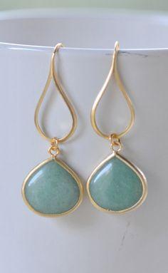 Gold Sage Green Drop Earrings.  Sage Teardrop and Gold Drop Earrings.  Gift for Her.  Dangle Earrings. Modern Drop Earrings. Free Shipping.