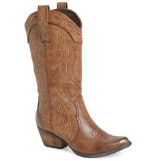 """Very Volatile 'Haystack' Western Boot, 2"""" heel ($90) ❤ liked on Polyvore featuring shoes, boots, brown faux leather, mid-calf boots, very volatile boots, vegan boots, cowgirl boots and cowboy boots"""