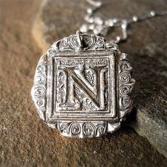 Recycled Silver Initial Medallion by YourDailyJewels, $42.00