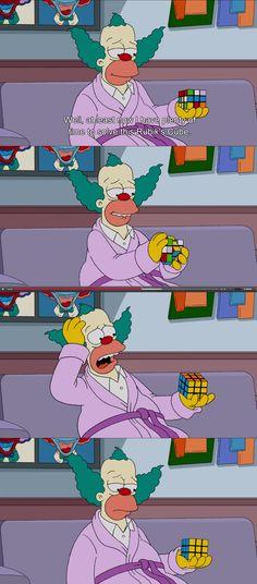 Krusty ahora tiene tiempo libre para dedicarse a resolver el cubo