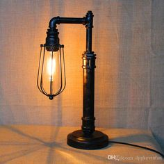 Industrial Metal Pipe Retro Personality Creative Table Lamp Small Iron Cages Shade Table Lamp Novelty Thanksgiving Christmas Gift For Study From Dpgkevinfan, $97.54 | Dhgate.Com