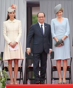 (L-R) Catherine, Duchess of Cambridge, French President Francois Hollande and Queen Mathilde of Belgium attend a WW1 100 Years Commomoration Ceremony at Le Memorial Interallie on August 4, 2014 in Liege, Belgium. Monday 4th August marks the 100th Anniversary of Great Britain declaring war on Germany.