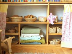 I like the idea of having blankets or sheets of neutral tones  for the kids to have access to ....again, endless possibilities.