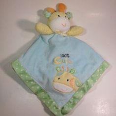 Okie Dokie Giraffe Lovey Security Blanket Plush Rattle Green Yellow Polka Dot #OkieDokie