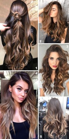 38 Balayage in brown and dark hair. Brunette Hair, Hair Dos, Gorgeous Hair, Balayage Hair, Pretty Hairstyles, Hair Hacks, Dyed Hair, Hair Inspiration, Curly Hair Styles