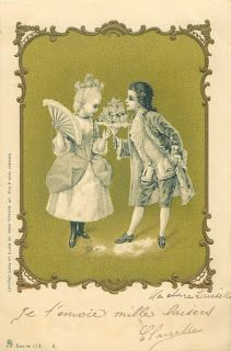 ANTIQUE VTG PRINT CUPID ON WORLD Lithograph picture~BY FORESTER~RARE ONE 1920