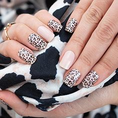 On-trend leopard nails using dry nail polish strips. These strips are 100% real nail polish in dry strip form. No more waiting for nail polish to dry. Get a salon quality manicure at home for a fraction of the cost. Color Street nail polish combo using Color Street trend-spotted. DIY leopard nails. At home leopard manicure #colorstreet #nails #nailpolish #diynails #nailart