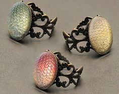Game of Thrones Daenerys' dragon eggs glass cabochon filigree ring: CHOOSE Viserion, Rhaegal or Drogon