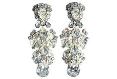 Weiss Rhinestone Earrings Clip On Cocktail by VintageJewelryChick