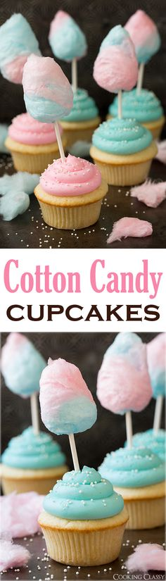 Cotton Candy Cupcakes - these are so fun! My kids loved them! The cupcakes are so soft and fluffy and the buttercream is melt-in-your-mouth amazing!: from dessert Cupcake Recipes, Baking Recipes, Dessert Recipes, Muffin Recipes, Baking Ideas, Yummy Cupcakes, Cupcake Cookies, Amazing Cupcakes, Buttercream Cupcakes