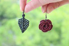Leaf Earrings, Boho Earrings, Earrings Handmade, Handmade Jewelry, Diy Jewellery, Macrame Earrings Tutorial, Macrame Jewelry, Macrame Knots, Boho Jewelry