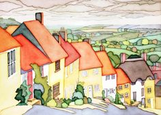 Gold Hill is a steep cobbled street in the town of Shaftesbury in the English county of Dorset. Artist Painting, House Painting, Watercolour Painting, Watercolors, Building Illustration, Illustration Art, Gold Hill, Watercolor Techniques, Landscape Paintings