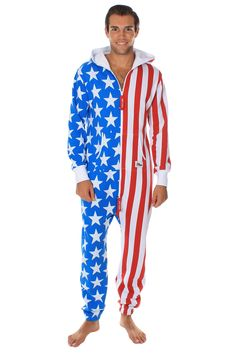 It's got a zipper. It's got a hood. In short, it's got everything you need. This American Flag jumpsuit is the best thing since the United States was founded!