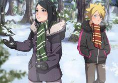 Where Sarada is from Slytherin and Boruto. Sarada E Boruto, Naruto Shippuden Sasuke, Naruhina, Naruto Couples, Anime Couples, Mago Anime, Natsume And Mikan, Funny Naruto Memes, Otaku