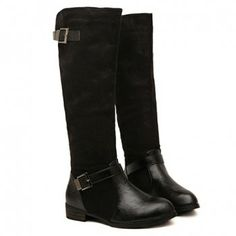 Casual Buckle and Splice Design Knee High Boots For Women, BLACK, 37 in Boots | DressLily.com