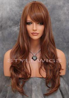 Blonde Auburn Mix Long Natural Wavy Heat OK Wig w Bangs Sakr 30 27 | eBay