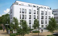 Die Stadtvilla mit 17 schönen Eigentumswohnungen grenzt an einen idyllischen Mirabellenhof. Neubauprojekt: PARK LINNÉ von der DORNIEDEN PARK LINNÉ GMBH