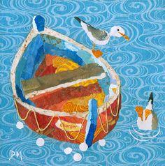 Boat 2 - Original Framed Torn Paper Collage Art