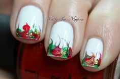 Nails In Nippon: Christmas Marbled Tips