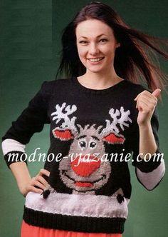 Пуловер с рисунком Олень Санты