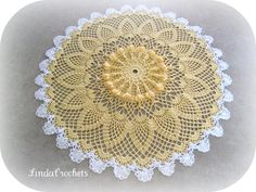 """I think the description on the pattern says it all in describing this pattern... """"A splash of buttery yellow lace with a hint of white ed..."""