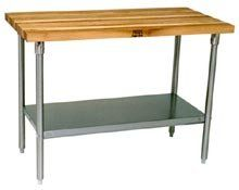 """John Boos JNS15 Maple Top Work Table with Galvanized Base and Shelf, 36"""" x 36"""" x 1-1/2"""""""