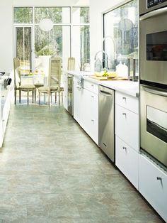 Best Ideas For Kitchen Tile Floor Porcelain White Cabinets Tarkett Vinyl Flooring, Luxury Vinyl Flooring, Luxury Vinyl Tile, Best Flooring For Kitchen, Wood Floor Kitchen, New Kitchen, Kitchen Reno, Kitchen Tile, Kitchen Layout