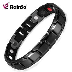Rainso Brand Fashion Black Stainless Steel Health Power Bracelet Bangle for Men  4 in 1 Bio Magnetic Link Bracelets OSB-1540BK