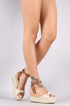 Bamboo Canvas Knotted Bow Cork Espadrille Wedge