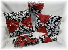 Black and White Dandy Damask with Dark Red Wedding Guest Book Pen Set Ring Pillow Flower Basket and Garter. $195.00, via Etsy.