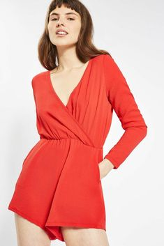 370152981f Glamorous Wrap Front Playsuit Red Size S LF078 BB 10  fashion  clothing   shoes