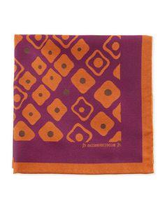 Massimo Bizzocchi Geometric Pocket Square, Purple/Orange
