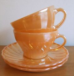 Your place to buy and sell all things handmade Vintage Cups, Vintage China, Vintage Tea, Vintage Decor, Peach Orange, Orange Crush, Vintage Fire King, Fancy Houses, Bone China Tea Cups