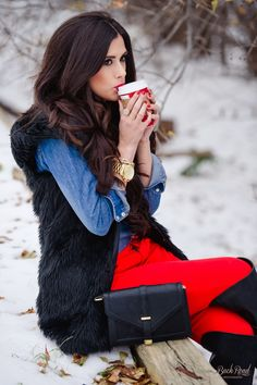 black vest - red skinnies- denim shirt- black boots - The Sweetest Thing