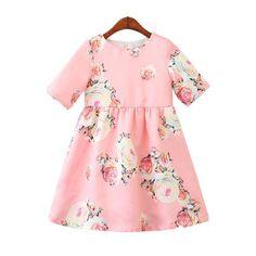 Girls Dresses New Brand Princess Clothing Printing Flower Short-sleeve Sweet Dresses For Years' Baby Girls Girls Formal Dresses, Baby Girl Dresses, Baby Dress, Cute Dresses, Casual Dresses, Baby Girls, Princess Dresses, Princess Clothes, Flower Shorts