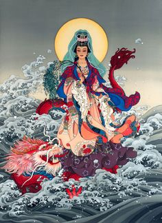 Kwan Yin, Painting by Caroline Young.  For more information, please fan us at: www.facebook.com/ContemporaryChineseArt and check out our site at: www.cwgalleries.com