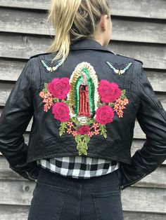 Embellished Mother Mary sequin leather jacket